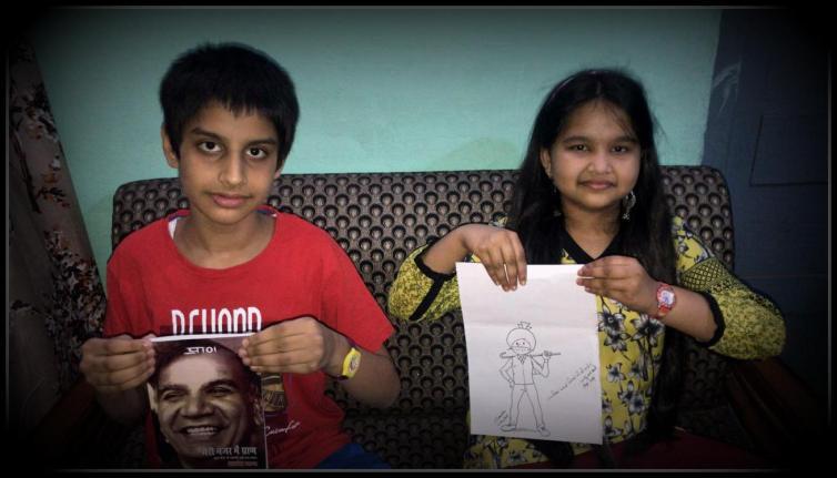 Kids Holding Meri Nazar Me Pran And An Art wok Of Chacha Chaudhary