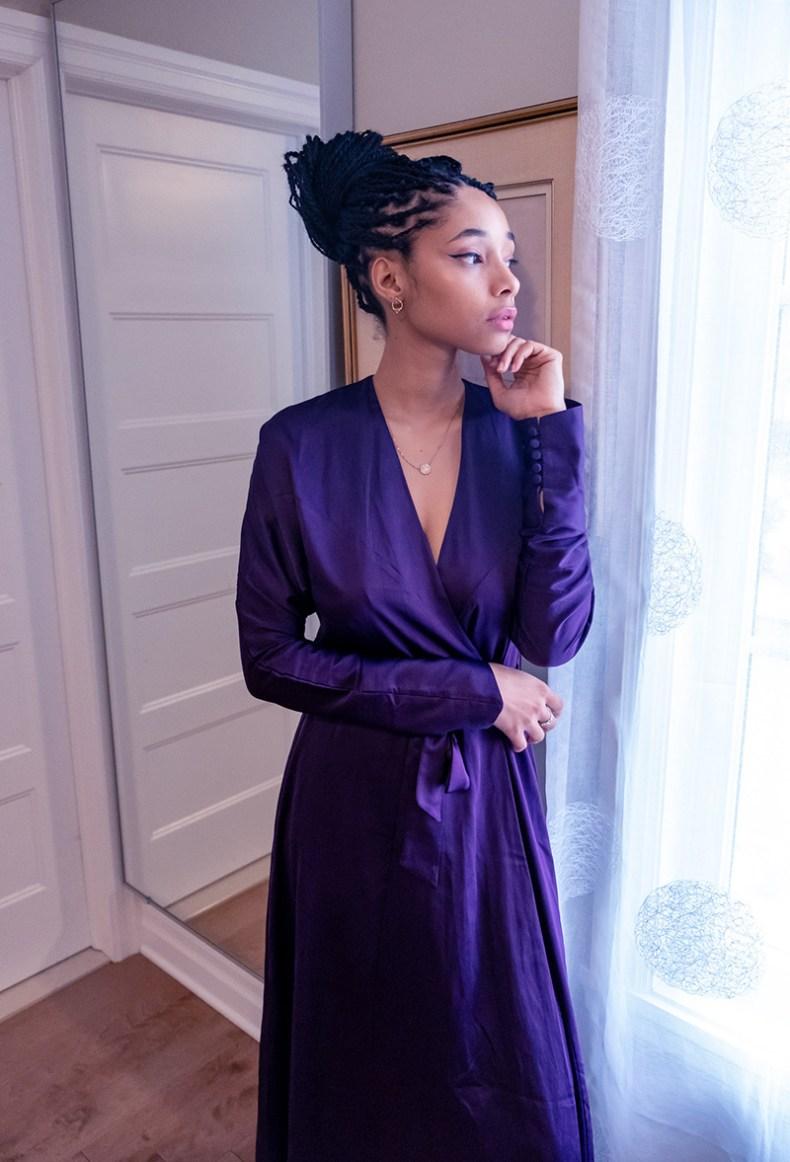 purple satin robe