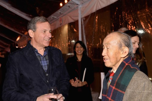 BURBANK, CA - DECEMBER 10:  Chairman and Chief Executive Officer, The Walt Disney Company Bob Iger (L) and animator Milton Quon attend the 90 Years of Disney Animation celebration at Walt Disney Studios on December 10, 2013 in Burbank, California.  (Photo by Alberto E. Rodriguez/Getty Images for Disney Animation) *** Local Caption *** Bob Iger; Milton Quon
