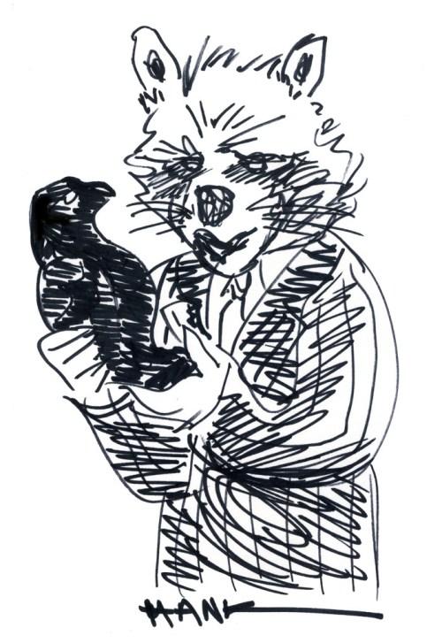 Rocket Raccoon as Sam Spade with the Maltese Falcon