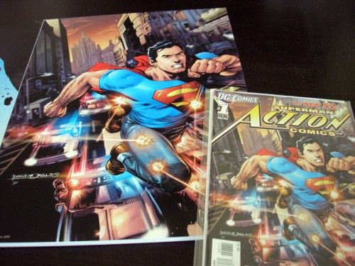 Action Comics Poster with issue from comic book for comparison.
