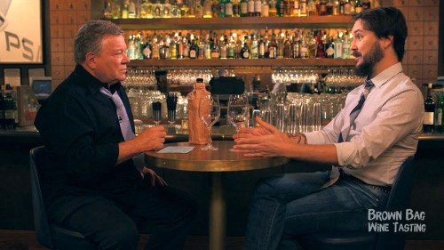 "William Shatner and Wil Wheaton on ""Brown Bag Wine Tasting."""