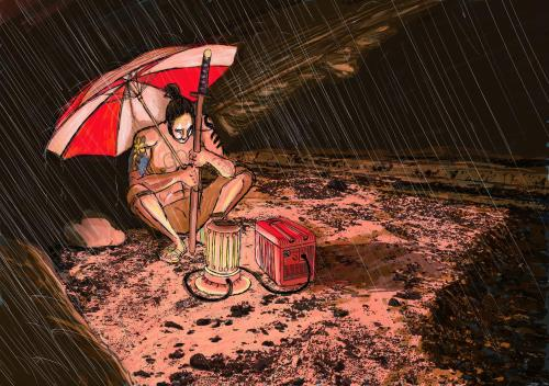 """Acid Rain"" - Original Concept Art for Three Ring Samurai by Ike Golden"