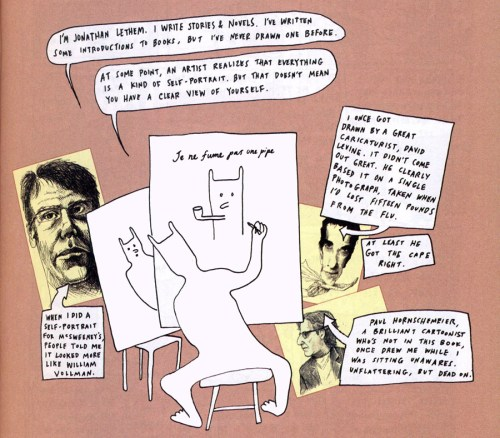 Jonathan Lethem self-portrait in introduction to The Best American Comics 2015
