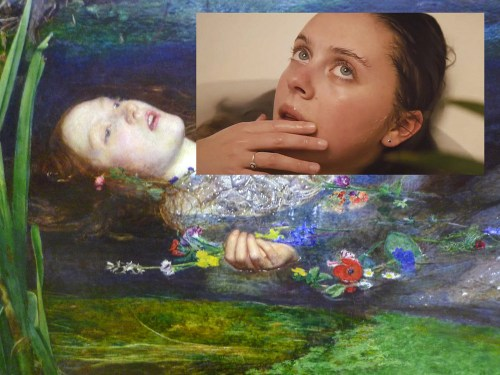 "Bel Powley channeling Millais's 1852 painting, ""Ophelia"""