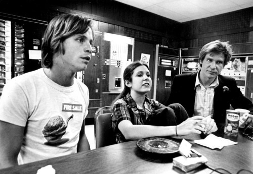 In simpler times: Mark Hamill, Carrie Fisher, and Harrison Ford
