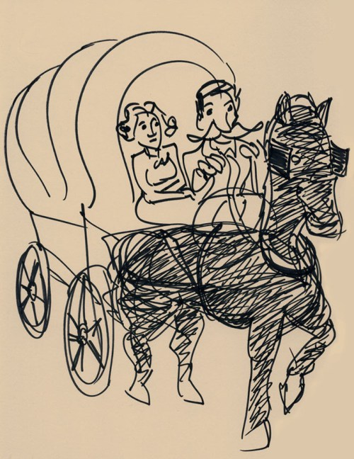 On the Wagon Train! Illustration by Henry Chamberlain.