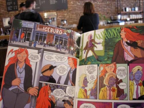 Reading TERRA FLATS at Stumptown Coffee Roasters in Portland