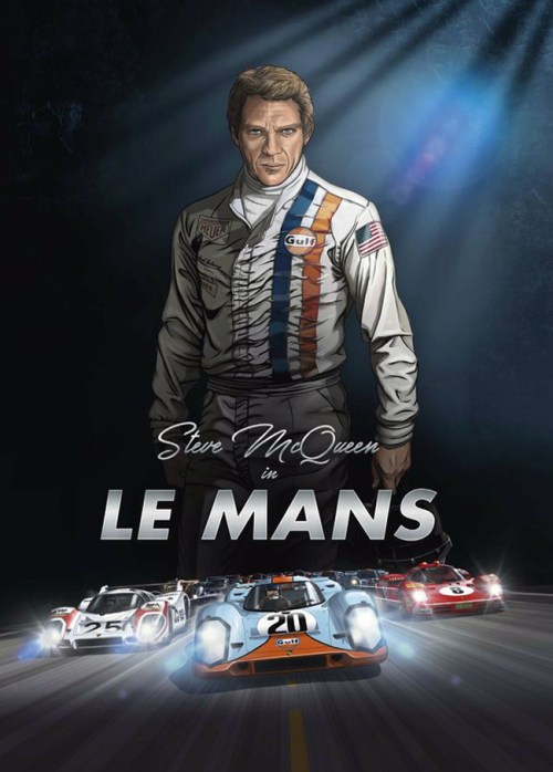 """Steve McQueen in Le Mans"" by Sandro Garbo and Garbo Studio"