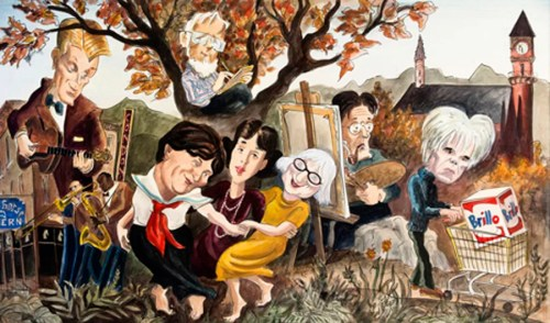 Mural by Edward Sorel at The Waverly Inn, completed in 2007. From left to right: Eddie Condon, Donald Barthelme, Willa Cather, Gertrude Vanderbilt Whitney, Jane Jacobs, John Sloan, and Andy Warhol.