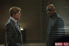 Robert Redford and Samuel L. Jackson as Alexander Pierce and Nick Fury