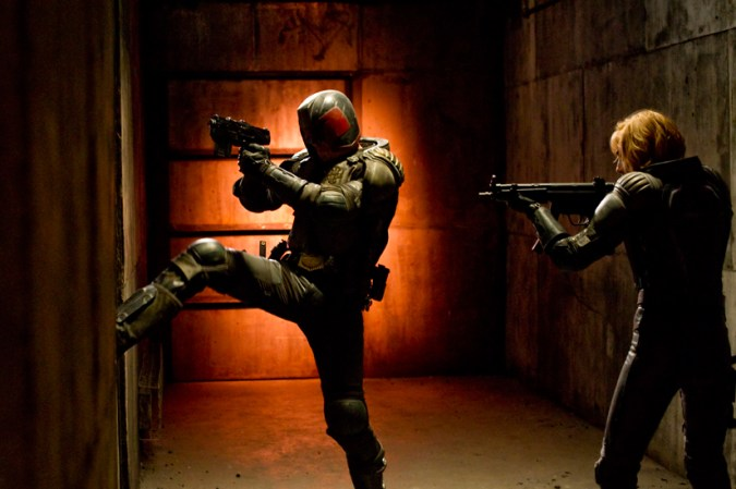 Judge Dredd (Karl Urban) and Judge Anderson (Olivia Thirlby)