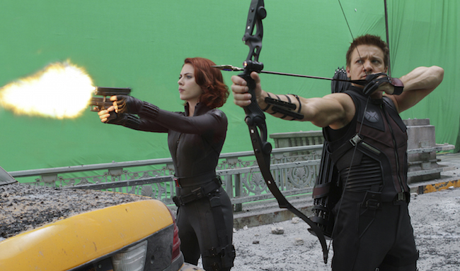 Scarlett Johansson as the Black Widow and Jeremy Renner as Hawkeye