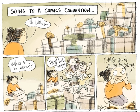 Comic convention panels by Connie Sun