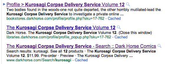 Google search for Kurosagi Corpse Delivery Service 12