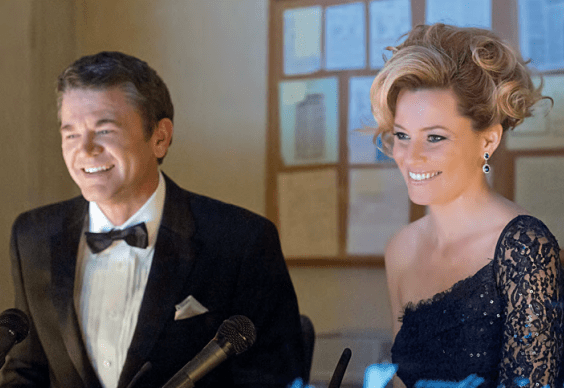 John Michael Higgins and Elizabeth Banks in Pitch Perfect