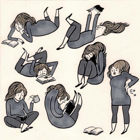 Kate Beaton's reading poses