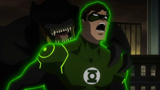 Green Lantern and a Parademon in Justice League: War