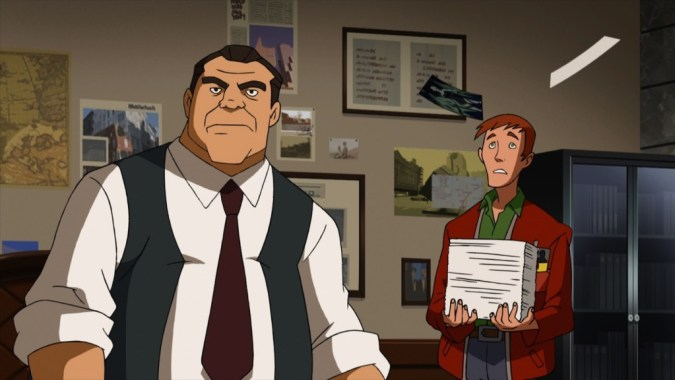 Perry White and Jimmy Olsen in Superman vs. the Elite