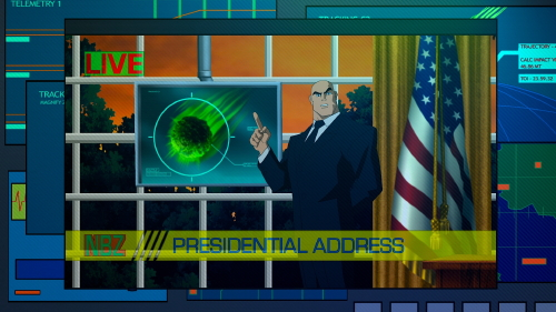 President Lex Luthor claims an oncoming kryptonite meteor has driven Superman mad