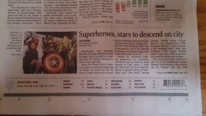 Wizard World in Wisconsin State Journal