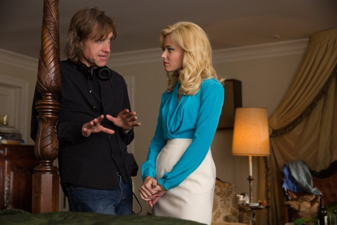Director Bill Pohlad and Elizabeth Banks on the set of Love & Mercy