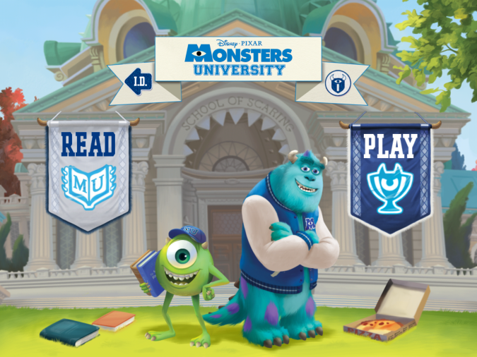 Monsters University app home screen