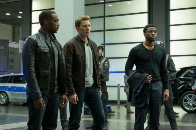 The Falcon, Captain America, and Black Panther as civilians