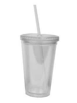 Plastic tumbler glass with straw