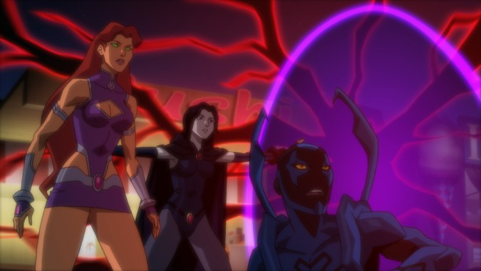 Justice League vs. Teen Titans - Starfire, Raven, and Blue Beetle