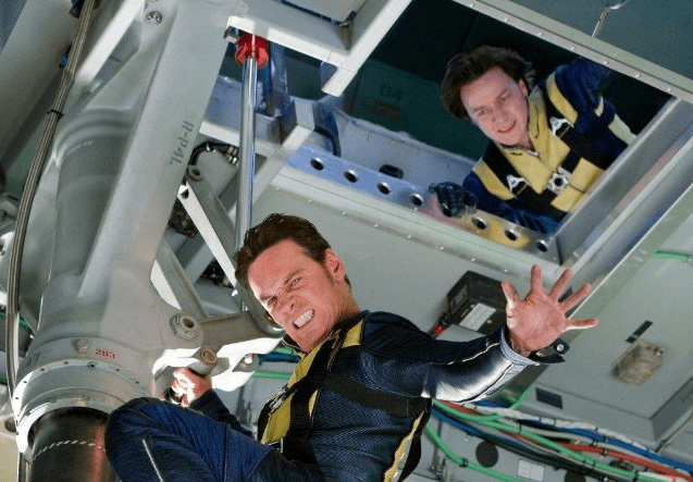 Michael Fassbender (Magneto) and James McAvoy (Professor X)