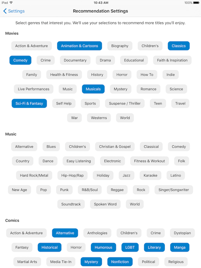 Hoopla recommendation settings