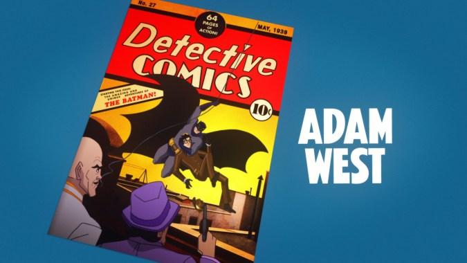 Adam West opening credit in Batman: Return of the Caped Crusaders