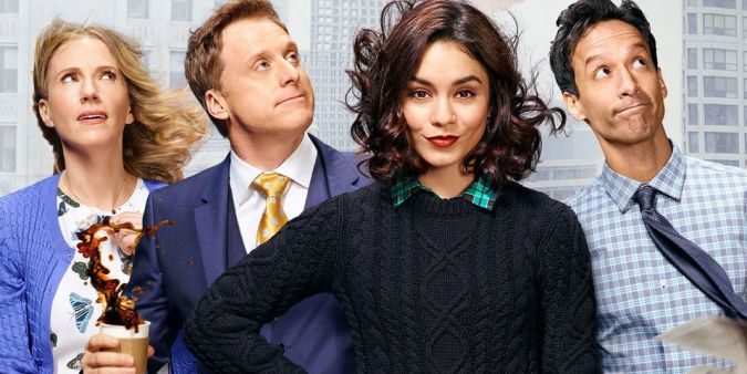 Powerless cast members Christina Kirk, Alan Tudyk, Vanessa Hudgens, and Danny Pudi