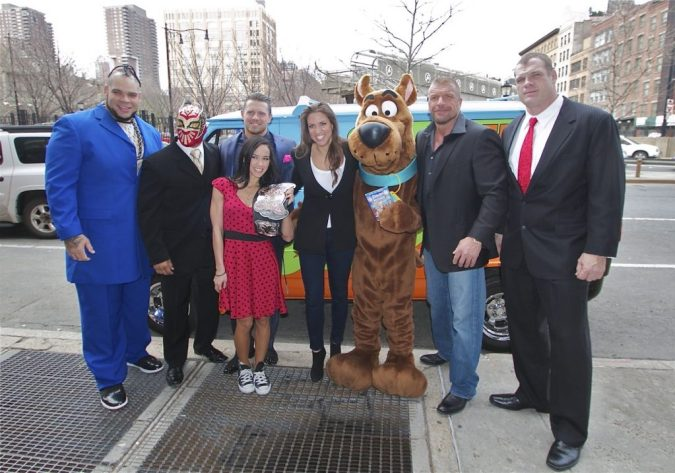 WWE and Scooby-Doo: Brodus Clay, Sin Cara, The Miz, AJ Lee, Stephanie McMahon, Scooby-Doo, Triple H, and Kane