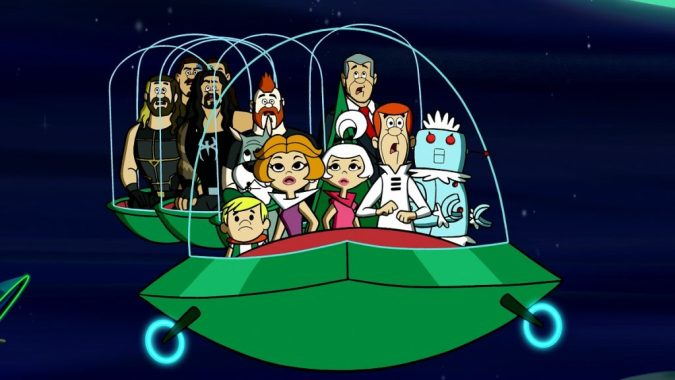 The Jetsons and the wrestlers in The Jetsons & WWE: Robo-Wrestlemania