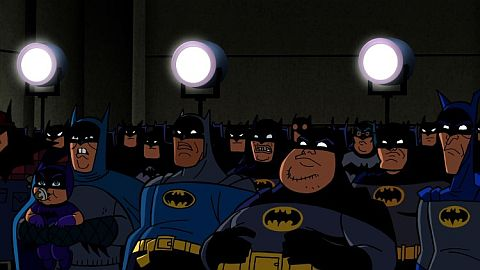 The Batmen Convention from the Bat-Mite episode