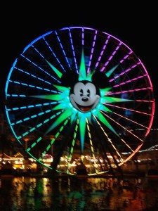 Mickey's Fun Wheel lit up for World of Color