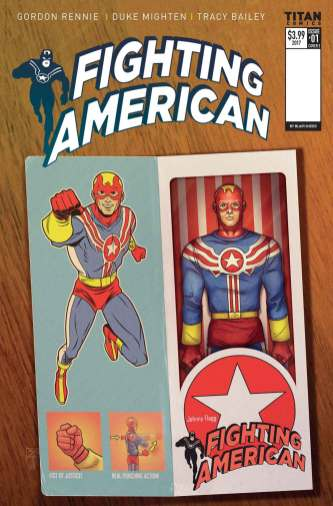 Fighting American #1 action figure variant cover by Blair Shedd