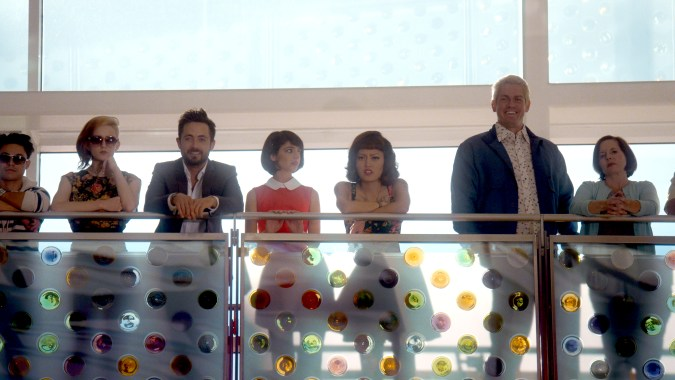 Justin Chatwin, Kate Micucci, Hana Mae Lee and Steve Howey in Unleashed
