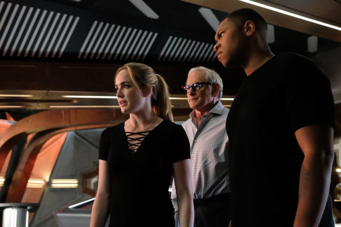 "Caity Lotz as Sara Lance/White Canary, Victor Garber as Professor Martin Stein, and Franz Drameh as Jefferson ""Jax"" Jackson in DC's Legends of Tomorrow"