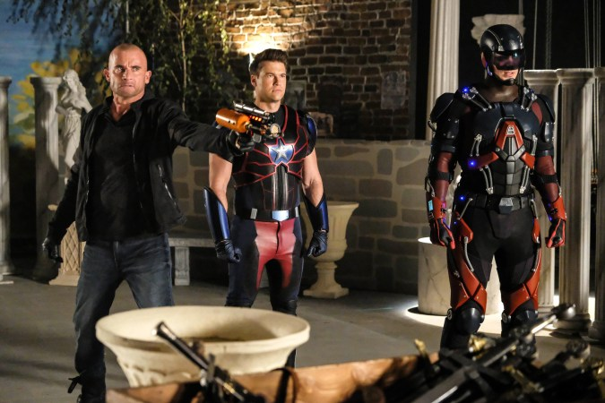 Dominic Purcell as Mick Rory/Heat Wave, Nick Zano as Nate Heywood/Steel, and Brandon Routh as Ray Palmer/Atom in DC's Legends of Tomorrow