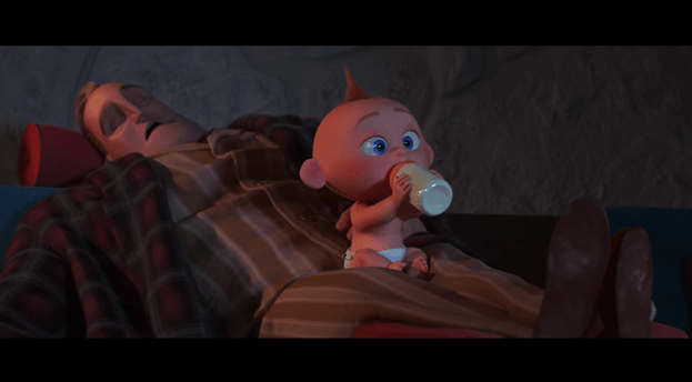 Mr. Incredible and Jack-Jack in Incredibles 2
