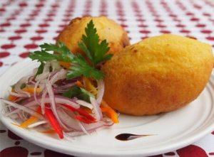 receta de arracacha rellena con pollo