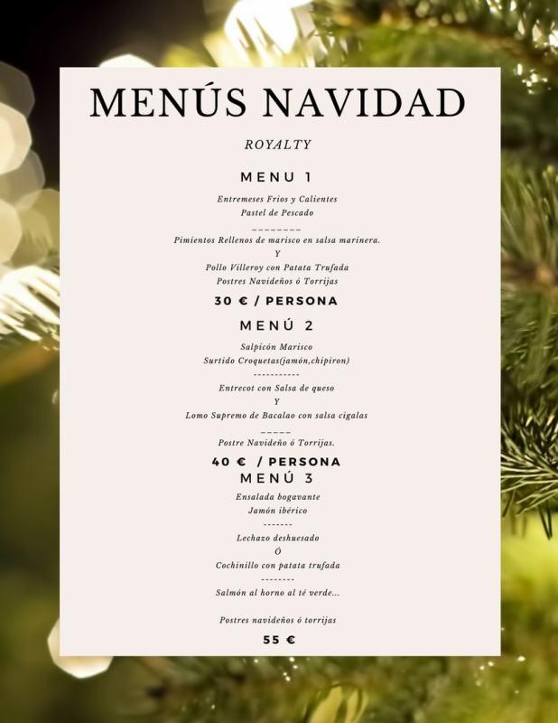 Menús de Navidad para Llevar - Royalty Santander