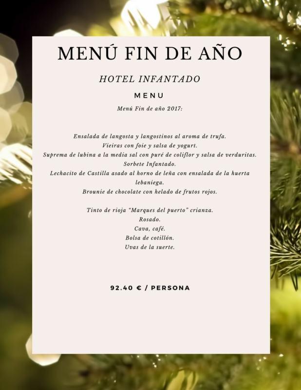 Menú de Nochevieja Hotel Infantado