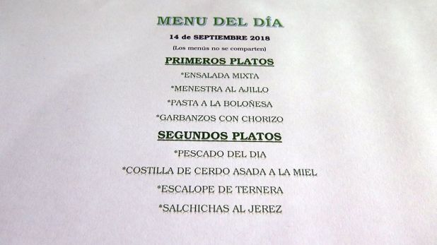 Menú del día - Restaurante Los Pasiegos - Hoznayo