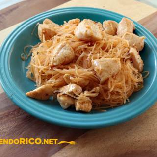 Koreran Spicy Chicken with nooddles, Comiendo Rico