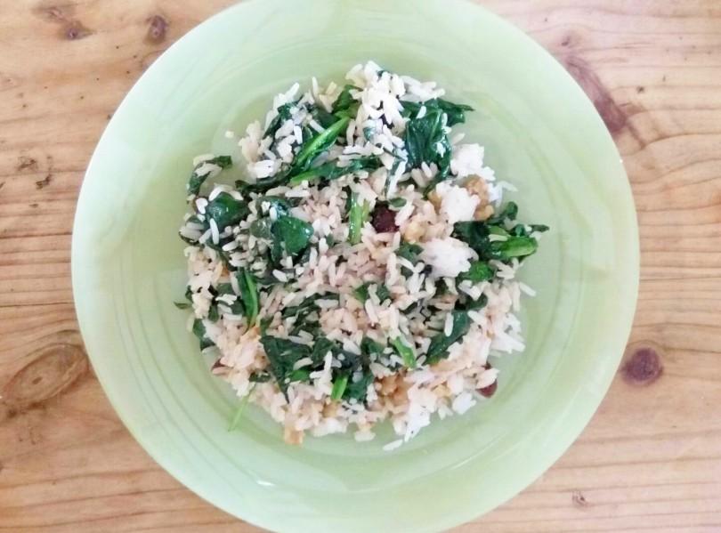 Receta de arroz con espinacas