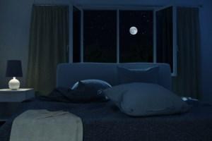 暗闇の中にあるベッド